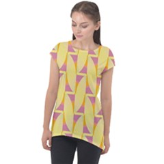 Yellow Pink Cap Sleeve High Low Top