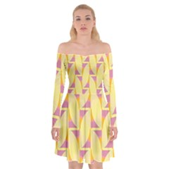 Yellow Pink Off Shoulder Skater Dress by HermanTelo
