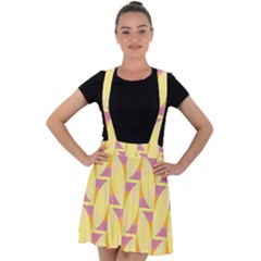 Yellow Pink Velvet Suspender Skater Skirt