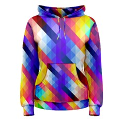 Abstract Blue Background Colorful Pattern Women s Pullover Hoodie