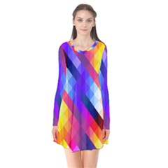 Abstract Blue Background Colorful Pattern Long Sleeve V-neck Flare Dress