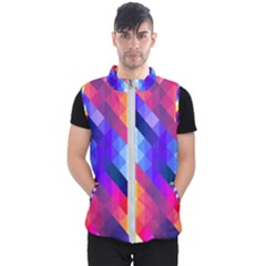 Abstract Blue Background Colorful Pattern Men s Puffer Vest