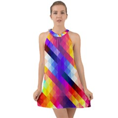 Abstract Blue Background Colorful Pattern Halter Tie Back Chiffon Dress