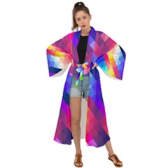 Abstract Blue Background Colorful Pattern Maxi Kimono by HermanTelo