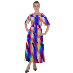 Abstract Blue Background Colorful Pattern Shoulder Straps Boho Maxi Dress