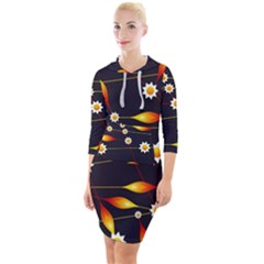 Flower Buds Floral Background Quarter Sleeve Hood Bodycon Dress