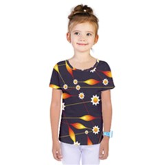 Flower Buds Floral Background Kids  One Piece Tee