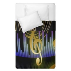Background Level Clef Note Music Duvet Cover Double Side (single Size)