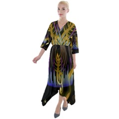 Background Level Clef Note Music Quarter Sleeve Wrap Front Maxi Dress