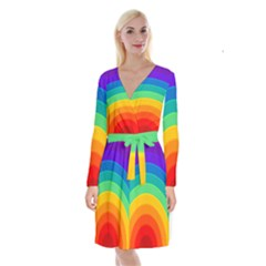 Rainbow Background Colorful Long Sleeve Velvet Front Wrap Dress