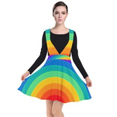 Rainbow Background Colorful Plunge Pinafore Dress