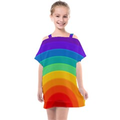 Rainbow Background Colorful Kids  One Piece Chiffon Dress
