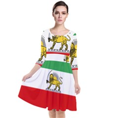 State Flag Of The Imperial State Of Iran, 1907 1979 Quarter Sleeve Waist Band Dress by abbeyz71