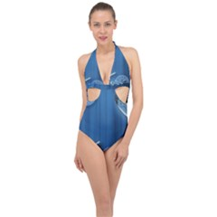 Time Clock Watch Hours Halter Front Plunge Swimsuit