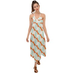 Wallpaper Chevron Halter Tie Back Dress