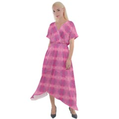 Pink Cross Front Sharkbite Hem Maxi Dress
