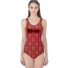 Pattern Red Background Structure One Piece Swimsuit