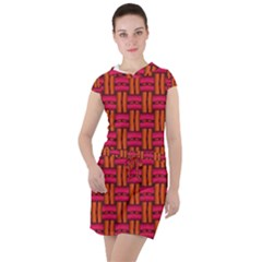 Pattern Red Background Structure Drawstring Hooded Dress