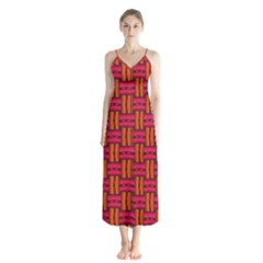 Pattern Red Background Structure Button Up Chiffon Maxi Dress by HermanTelo