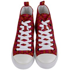 Pattern Red Background Structure Women s Mid-top Canvas Sneakers
