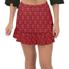 Pattern Red Background Structure Fishtail Mini Chiffon Skirt