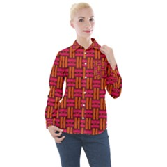 Pattern Red Background Structure Women s Long Sleeve Pocket Shirt