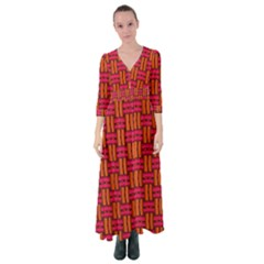 Pattern Red Background Structure Button Up Maxi Dress by HermanTelo
