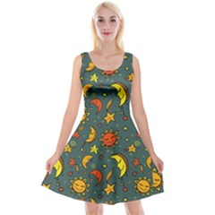 Cute Cartoon Sun, Star, And Sky Gray Reversible Velvet Sleeveless Dress by trulycreative