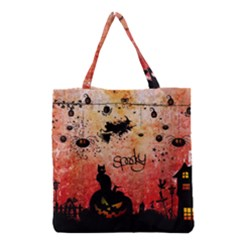 Funny Halloween Design, Cat, Pumpkin And Witch Grocery Tote Bag by FantasyWorld7