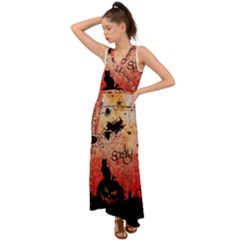 Funny Halloween Design, Cat, Pumpkin And Witch V-neck Chiffon Maxi Dress
