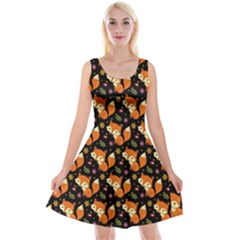 Cute Cartoon Fox Black Reversible Velvet Sleeveless Dress by trulycreative