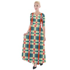 Texture Plaid Half Sleeves Maxi Dress