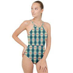 Pattern Texture Plaid Grey High Neck One Piece Swimsuit
