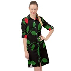 Roses Flowers Spring Flower Nature Long Sleeve Mini Shirt Dress by HermanTelo