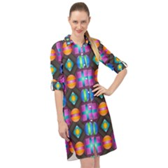 Squares Spheres Backgrounds Texture Long Sleeve Mini Shirt Dress