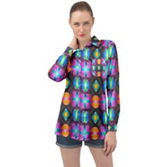 Squares Spheres Backgrounds Texture Long Sleeve Satin Shirt