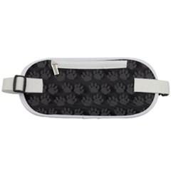 Pattern Texture Feet Dog Grey Rounded Waist Pouch