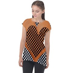Heart Chess Board Checkerboard Cap Sleeve High Low Top