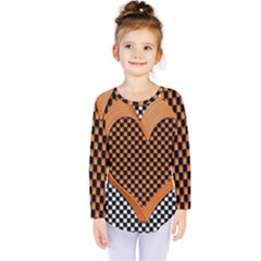 Heart Chess Board Checkerboard Kids  Long Sleeve Tee
