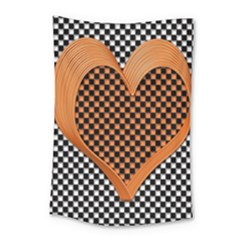 Heart Chess Board Checkerboard Small Tapestry