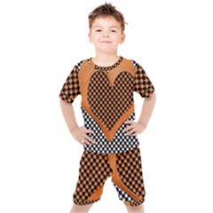 Heart Chess Board Checkerboard Kids  Tee And Shorts Set
