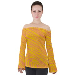 Pattern Texture Yellow Off Shoulder Long Sleeve Top
