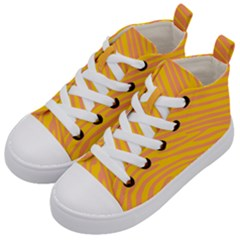 Pattern Texture Yellow Kids  Mid-top Canvas Sneakers by HermanTelo