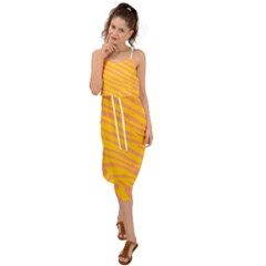 Pattern Texture Yellow Waist Tie Cover Up Chiffon Dress