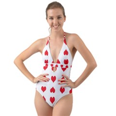 Heart Red Love Valentines Day Halter Cut-out One Piece Swimsuit