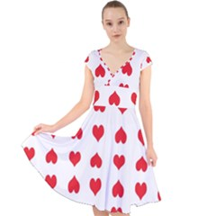 Heart Red Love Valentines Day Cap Sleeve Front Wrap Midi Dress