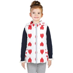 Heart Red Love Valentines Day Kids  Hooded Puffer Vest