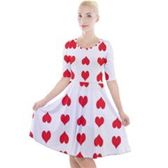 Heart Red Love Valentines Day Quarter Sleeve A-line Dress