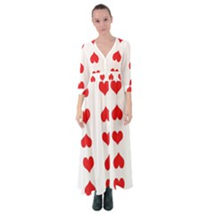 Heart Red Love Valentines Day Button Up Maxi Dress
