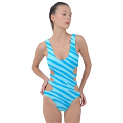 Pattern Texture Blue Side Cut Out Swimsuit by HermanTelo